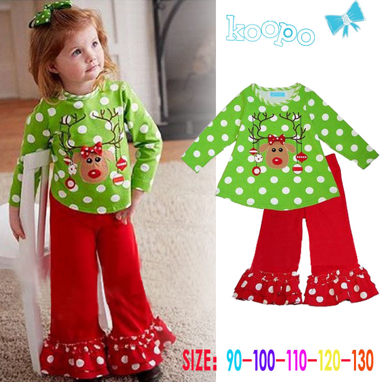 5set/lot Girls Christmas outfit cartoon Deer baby girl set polka dot green  t shirt + red flares pants cotton girls clothing sets-in Clothing Sets from  ... - 5set/lot Girls Christmas Outfit Cartoon Deer Baby Girl Set Polka Dot