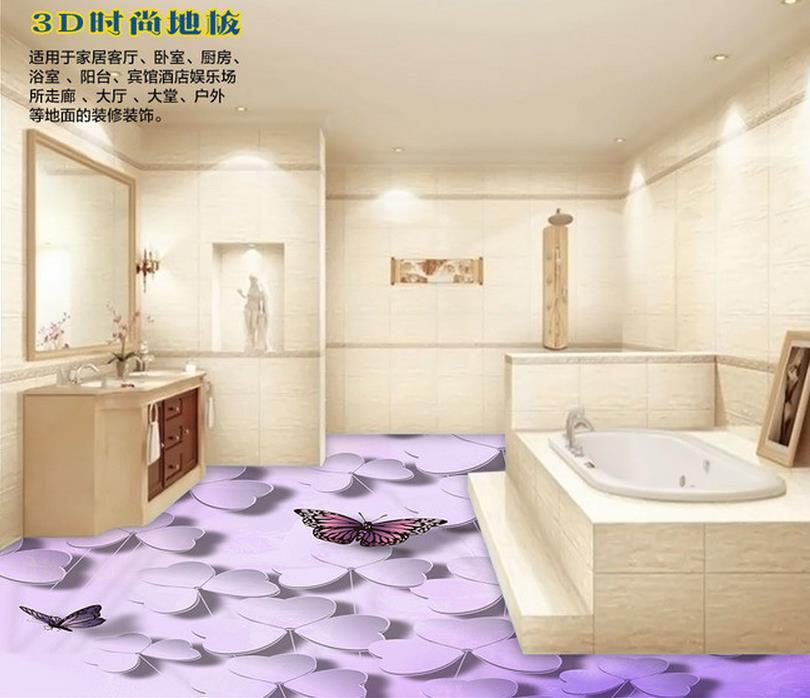 3d wallpaper custom mural beauty PVC self-adhesion floor wallpaper A butterfly is flying leaves lavender romantic bedroom 3 d