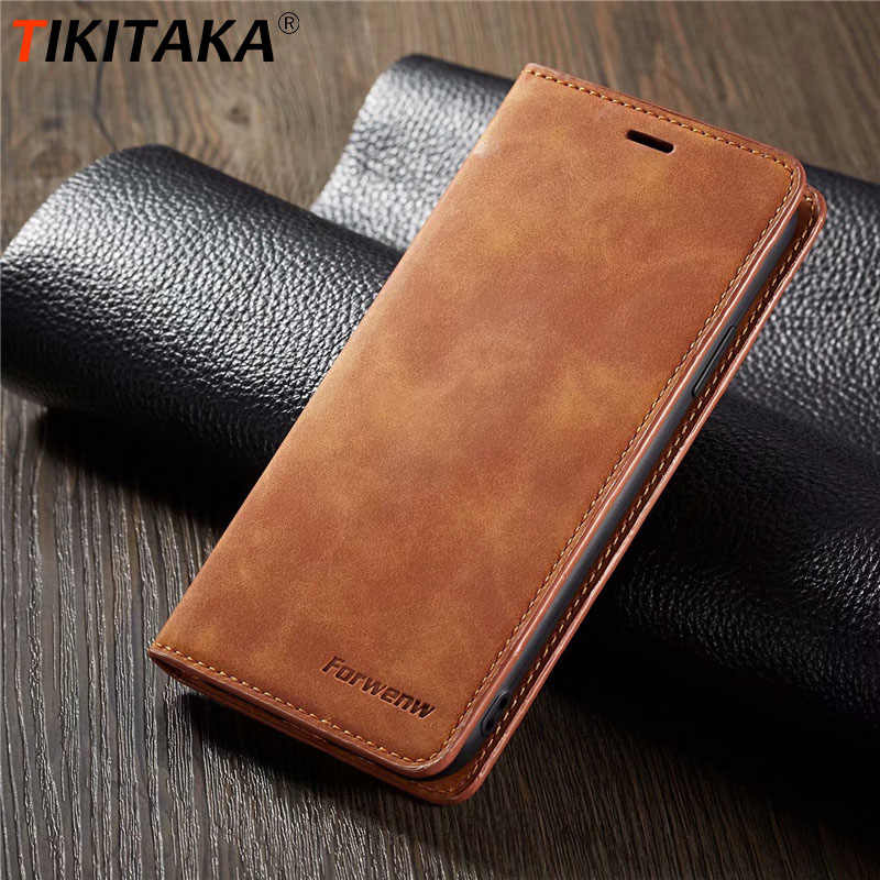 Tikitaka Magnet Leather Wallet Case For Iphone 6 6s X XS Max 8 Plus Soft Plain Card Slot Flip Cover For Iphone XR 7 7 Plus Case