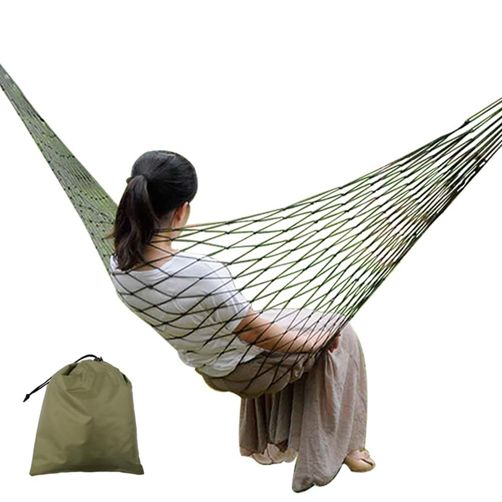 Portable Mesh Nylon Hammock For Camping Beach Outdoor Leisure Hanging Bed Swing Single Person Hammock Funiture