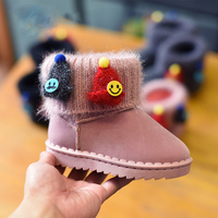 Snow Boots for Baby Girls Boys Kids Children's Leather Rubber Plush Bling Snow Boots Cartoon Solid Kids Shoes Free Shipping