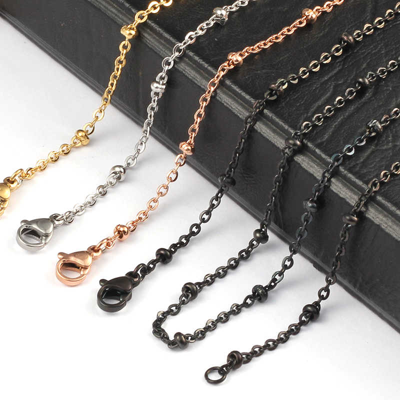 20'' 32'' 2mm silver/ gold/ rose gold/ black Color 316 Stainless Steel Ball Station Bead Chain for Locket Pendant Necklace