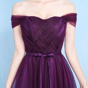 Image 2 - Sexy Purple Floor Length Party Criss cross Tulle Ribbon Women Wedding Elegant Ladies Bridesmaid Dresses Party Dance Dress 9069