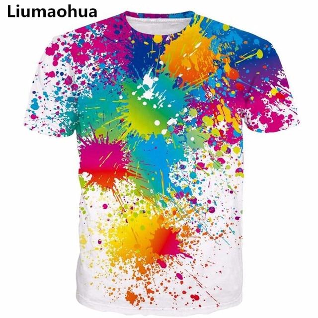 0738ad05 Liumaohua Men Women Paint Splatter Print t shirts Hipster Rainbow 3D t shirt  Male Female Street t shirts Harajuku Tees Tops