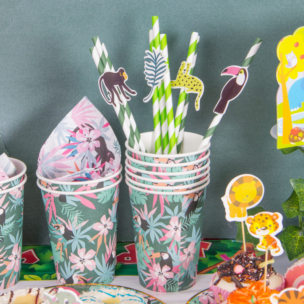 Image 5 - Pack of 24 Jungle Animal Party Paper Straws with Toucan Monkey Tropical Leaves Cutouts Tropical Birthday Party Shower Supplies-in Party DIY Decorations from Home & Garden