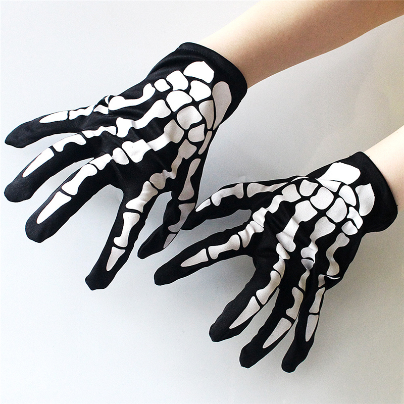 Halloween Short Ghost Gloves Cosplay Performance Bones Gloves Props Men And Women Hand Rope