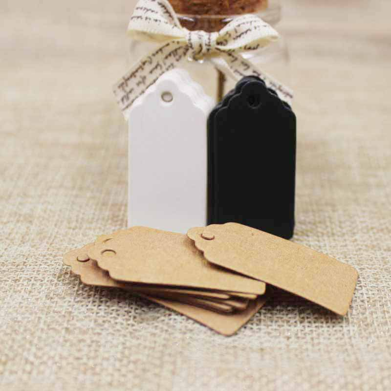 300PCS Black/brown/White Cardboard 2*4cm Blank Scallop Gift Tag For DIY Hang Price Labels Tag Greeting Card Crafts