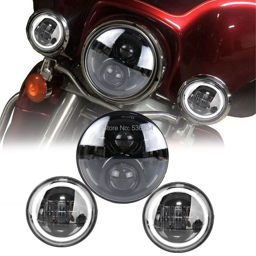 For Harley 7Inch LED Projector Headlight Hi/Low Matching 4.5Inch LED Passing Fog Lamps For Harley Davidson Heritage Softail chrome custom motorcycle skeleton mirrors for harley davidson softail heritage classic