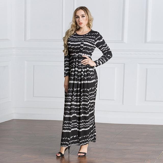 Dubai Turkish Robe Abaya Stretchy Maxi Dress Long Sleeve Plus Size