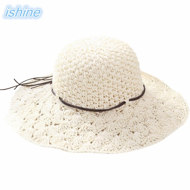 2018 Summer Hats For Women Fashion Design Women White Beach Sun Hat  Foldable Brimmed Straw Anti-UV Beige Beach Hat Drop Shipping 2ef18121fa52