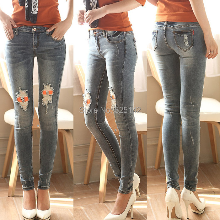 New fashion skull grinding white scratch frayed stretch jeans ...