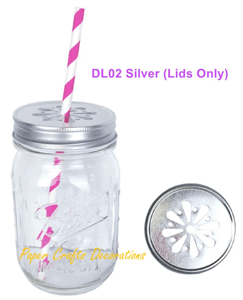 10pcs/lot Rustic Daisy Cut Mason Jars Lids Fit All Regular Mouth Mason Jars Party Wedding Favors ...