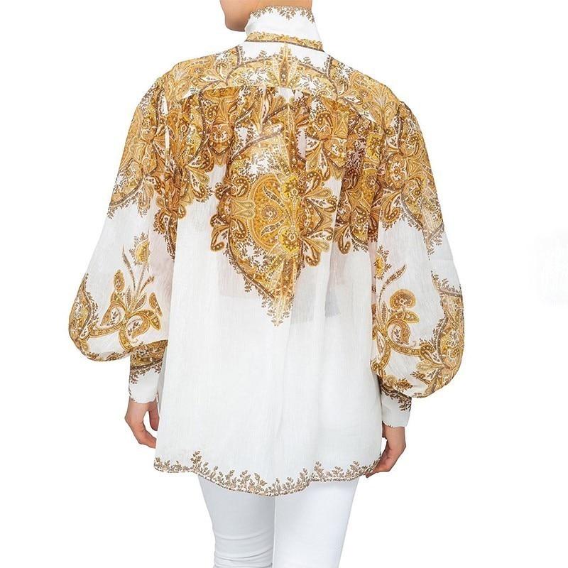 [LIVIVIO] Vintage imprimer Blouse pour les femmes col montant lanterne manches grande taille chemise femme mode vêtements 2019 été nouveau - 3