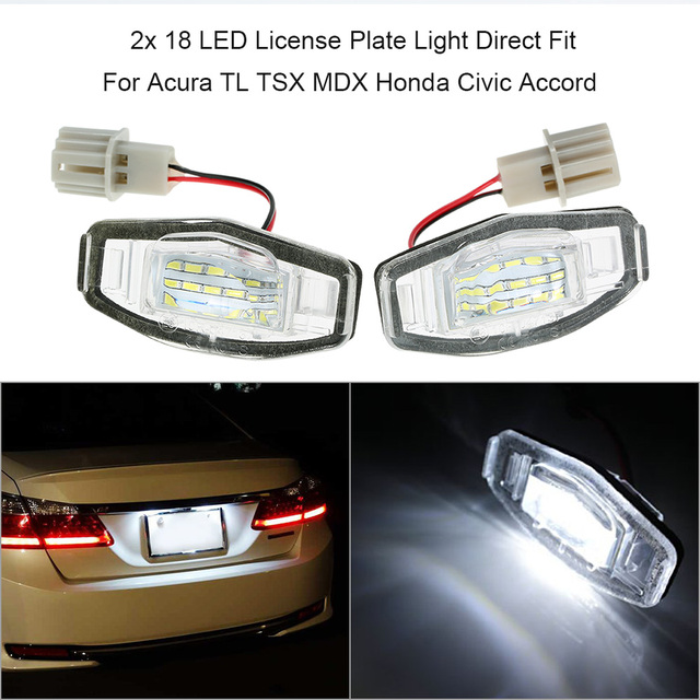 X LED License Plate Light Direct Fit For Acura TL TSX MDX Honda - Acura tl license plate frame