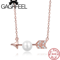 Valentine Gifts Romantic Cupid S Arrow Design Pearl Micropave Necklace Beautiful 925 Sterling Silver Necklace For