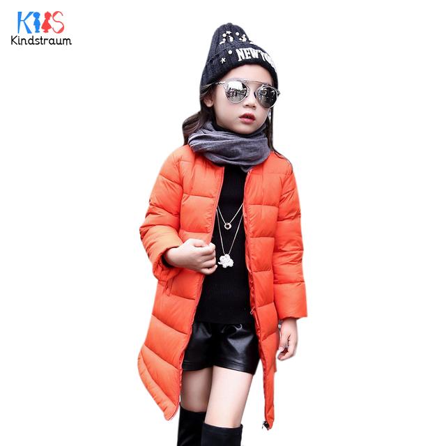 Kindstraum 2017 meninas novas de inverno casacos grossos para baixo crianças marca sólido longo estilo jaqueta moda casacos para crianças, rc794