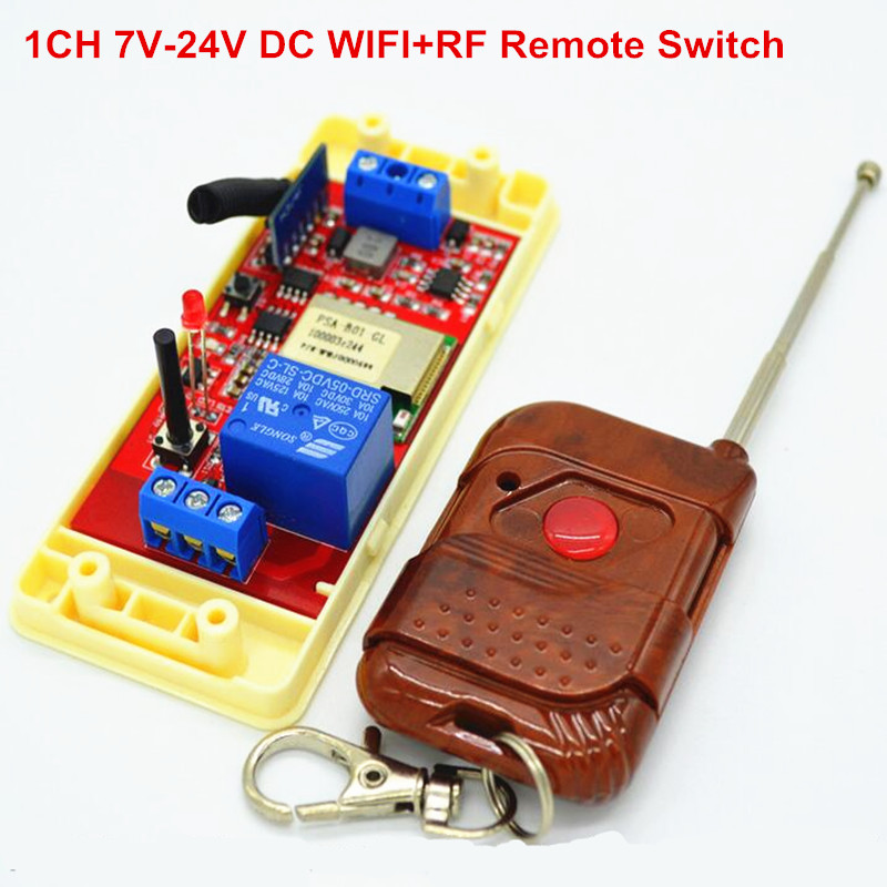 New 1 Way 7V 12V 24V DC WIFI Switch Relay Time Switch,RF 433mhz Wireless Remote Control Switches For Light Work by Phone new time 1