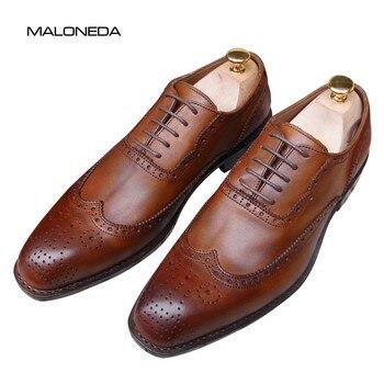 MALONEDA zapatos Oxford Brogue de cuero formal hechos a mano con Goodyear, zapatos de boda de vestir de cuero genuino