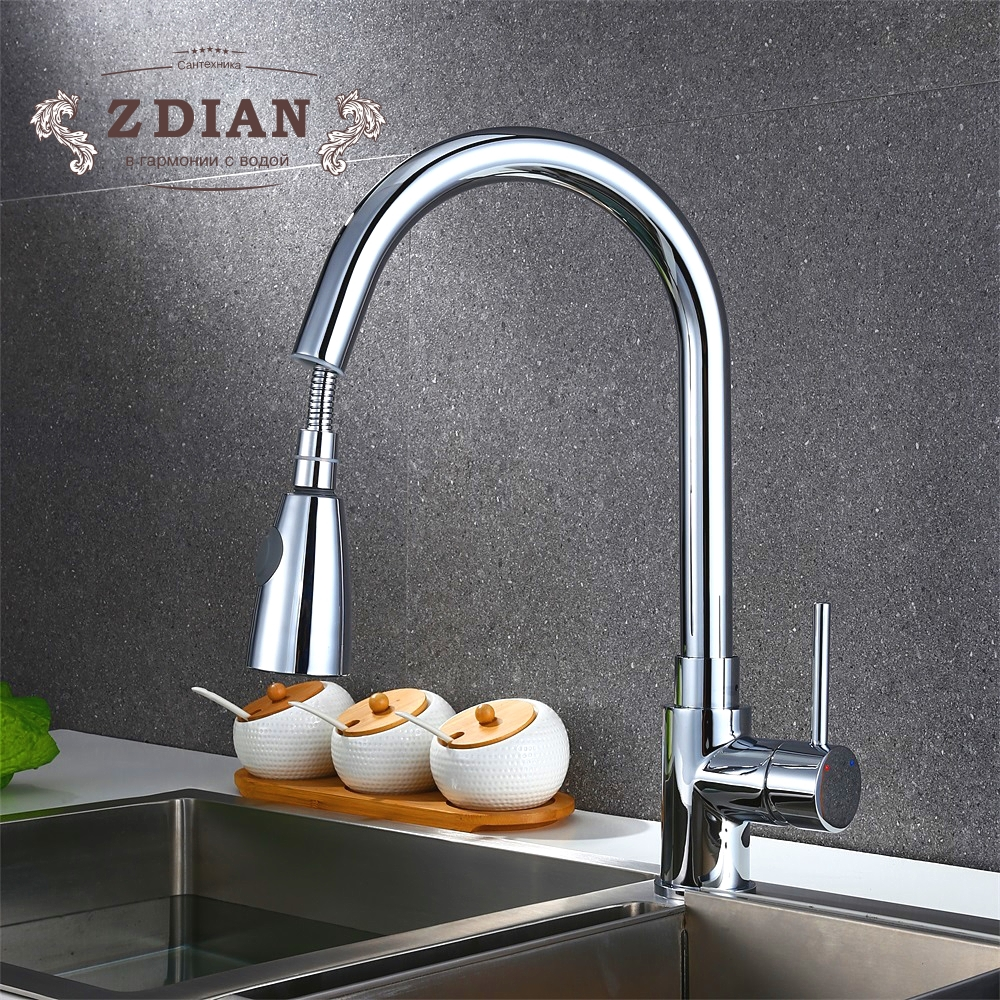 Extendable Pull out Flexible Hoses Faucet Swivel Sprayer Kitchen Sink Mixer Tap Swivel Spout Kitchen Pull Out Sink Faucet