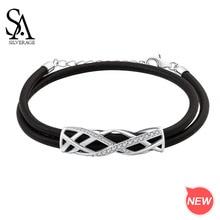 цена SA SILVERAGE 925 Silver Zirconia Strand Bracelets Fine Jewelry 17.5cm+3cm Extender 2019 925 Sterling Bracelet Bangle for Woman онлайн в 2017 году