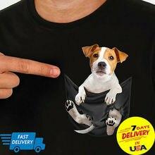 Джек Рассел внутри карман Футболка Собака LoversT-рубашка черный размер S-3XL для мужчин и женщин унисекс модная футболка