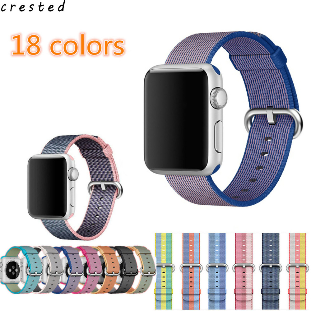 CRESTED  Woven nylon strap For Apple Watch band 42 mm/38 wrist band & 20mm 22mm nylon watchband bracelet for iwatch 1 2 3 crested protective case with strap for apple watch band 42 mm 38 mm wrist bracelet rubber watchband cover for iwatch series 2 1