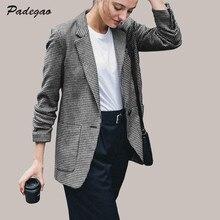 Фотография PADEGAO Casual Suit Ladies Coat Plaid 2017 Autumn Women Clothing Street Fashion High Quality