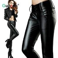 {Guoran} 2017 Leather Pants Women Winter High Waist Velvet Fleece Warm Trousers Faux Leather Leggings Lady Skinny Pants Black