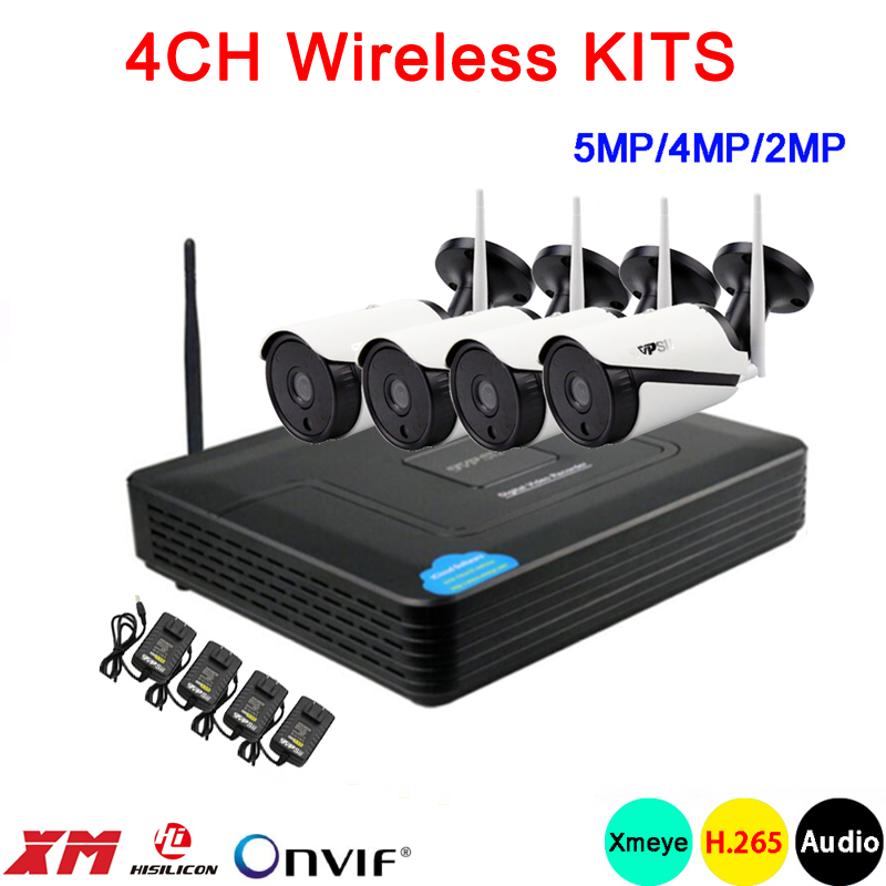 5mp/4mp/2mp White 36pcs Infrared Icsee APP Waterproof H.265+ 25fps 4CH 4 Channel WIFI Wireless IP Camera Kits Free Shipping