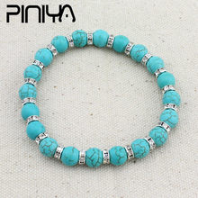 NEW High Quality Blue Green Natural Turquoises Square Green Howlite Stone Bracelet Homme Femme Charms Beads Bracelets(China)