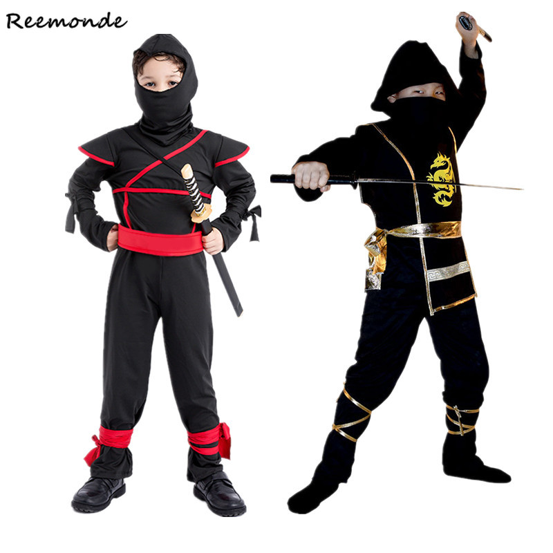 Anime Ninja Warrior Cosplay Costumes Black Martial Arts Ninja Bodysuits Super Masked Boy For Kids Children Halloween Fancy Party
