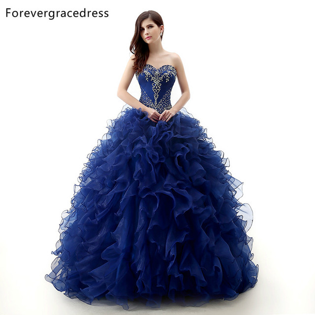 Forevergracedress 2018 Real Pictures Royal Blue Quinceanera Dress Sexy Long Backless Formal Party Gown Plus Size Custom Made