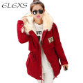 Elexs New Fashion Winter Women Fur Hooded Zipper Embellished Fleece Inside Military Casual Coat outerwear Women Parkas
