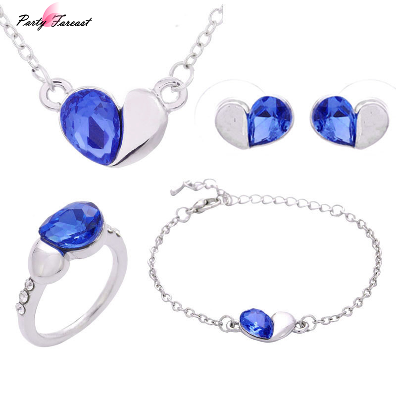 Partyfareast Crystal Heart Jewelry Necklace Bracelet Ring Stud Earring Four Suit Jewelry Sets Women Vintage Wedding Jewelry