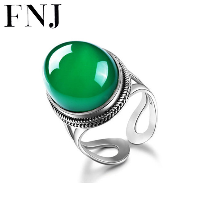 FNJ Vintage Natural Chrysoprase S925 Thai Silver Ring 100% Pure 925 Sterling Silver Rings for Women Jewelry LR83