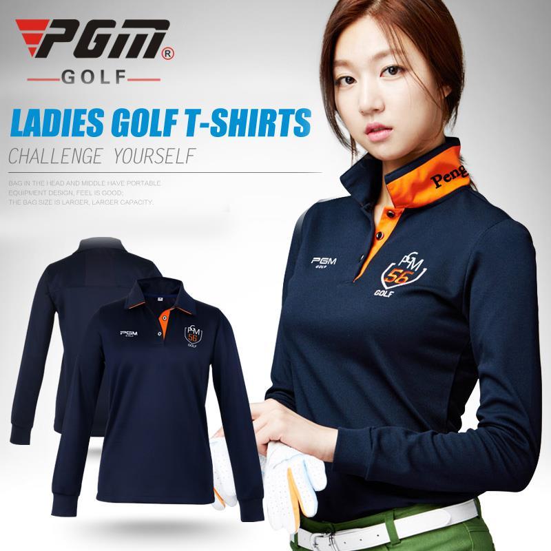 ФОТО 2017 PGM New Womens Golf Polo Shirts Long Sleeve Autumn Winter Golf Shirts Ladies Golf Clothing Apparel Quick Dry Sportswear