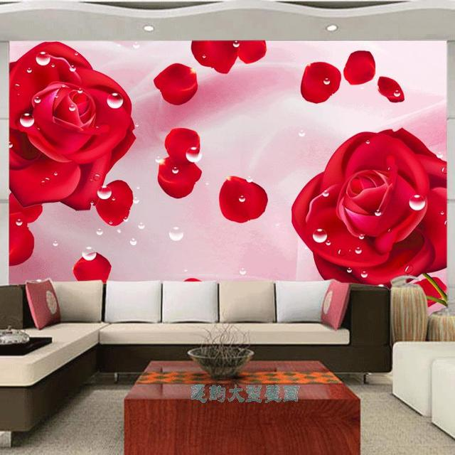 Free Shipping 3D custom mural dream red rose petals wallpaper ...