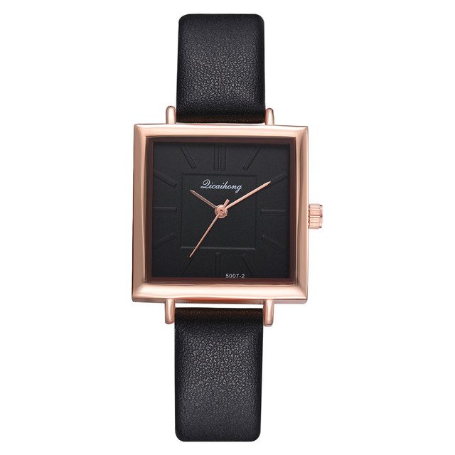 Genvivia Brand Square Women Bracelet Watch Contracted Leather Crystal WristWatch