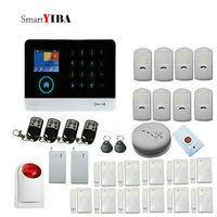 SmartYIBA Multi Language RFID Wifi Automation GSM Alarm System Home SMS Alarm Kits With Fire/Smoke Alarm SOS Emergency Button