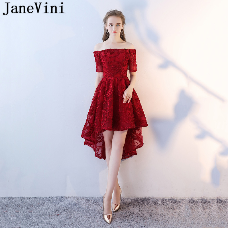 JaneVini High Low Long   Bridesmaid     Dresses   with Sleeves 2018 A Line Boat Neck Backless Elegant Burgundy Women Formal Prom Gowns