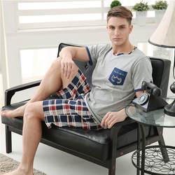 Мужские пижамы весна осень с коротким рукавом пижамы хлопок плед кардиган пижамы мужчин Lounge Pajama наборы плюс размер L 3XL сна