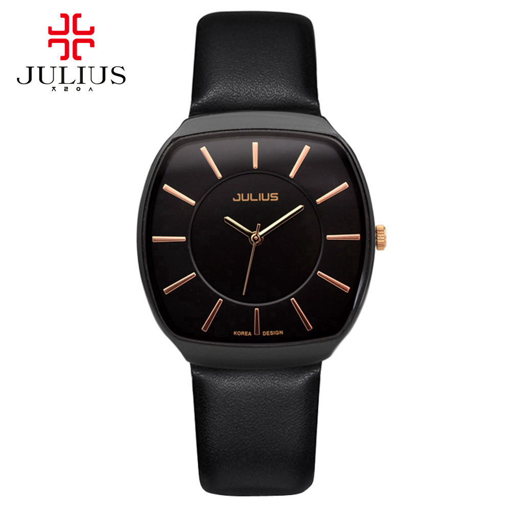 New Fashion Top Luxury brand JULIUS Watches men leather Strap watch Quartz-watch Ultra Thin Dial Clock man relogio masculino new 2017 men watches luxury top brand skmei fashion men big dial leather quartz watch male clock wristwatch relogio masculino