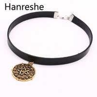 Hanreshewitcher 3 medalhão 32cm + 5cm gargantilha de couro colar a caça selvagem jogo cosplay jóias gótico ouro/prata pingente feminino
