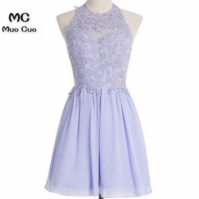 2018 A Line Homecoming Dress Halter Lavender Applique Bodice Chiffon Party  Dresses Prom Dresses Short Homecoming Dresses 6fa331e9d