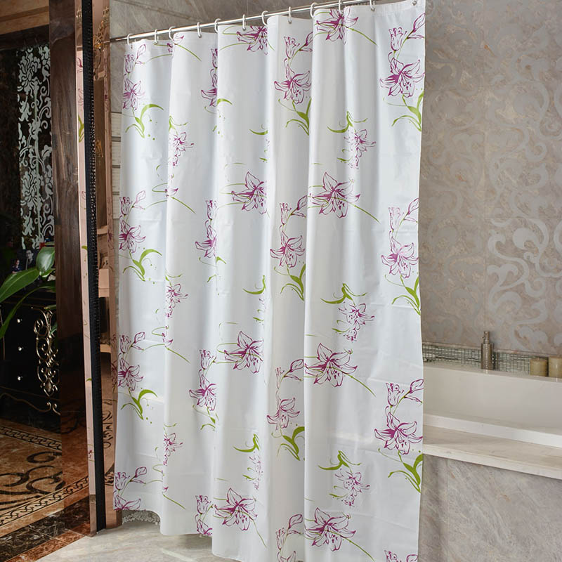 New PEVA Shower Curtain Purple Lily Bathroom Toilet Partition Waterproof Mouldproof In Curtains From Home Garden On Aliexpress