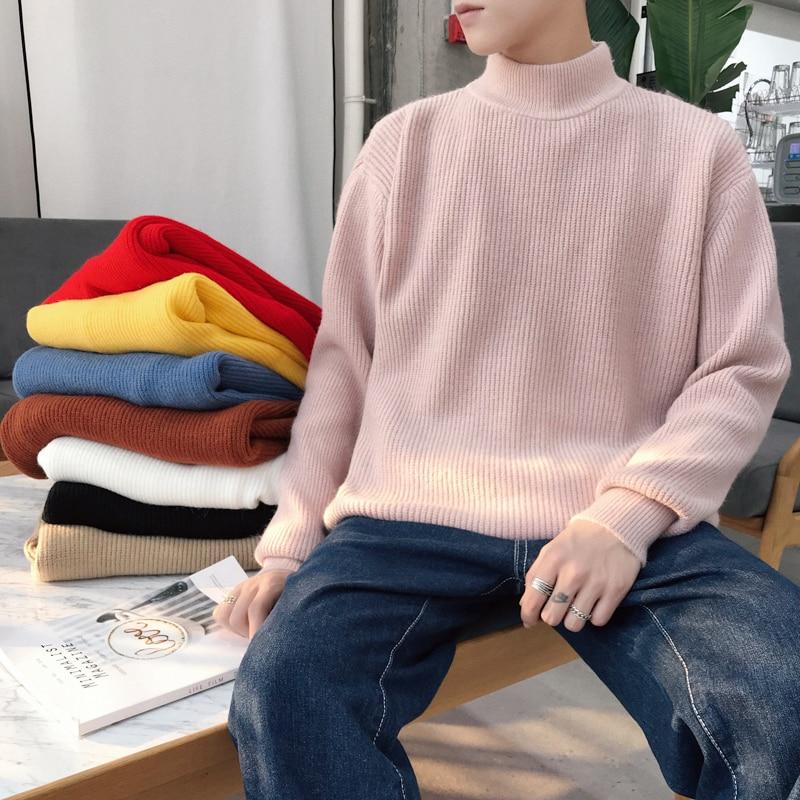 2019 dos homens de Inverno No Quente Tricô de Lã Cashmere Pullover Camisola de Gola Alta Da Marca Tendência Da Moda Casuais Casacos Multicolor M-2XL