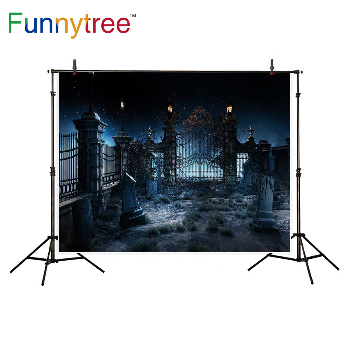 Funnytree Halloween backdrop for photographic studio dark old gothic cemetery iron gate photo booth background photocall