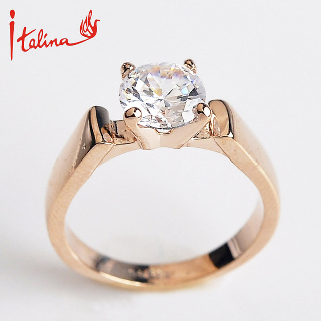 New Zircon wedding Rings for women fine jewelry Rose gold color engagement rings female Anel bijoux top quality