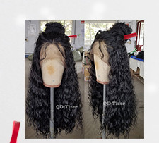 QD-Tizer 180% Density Black Loose Hair Synthetic Lace Wigs Long Loose Curly Synthetic Lace Front Wigs for Fashion Women011