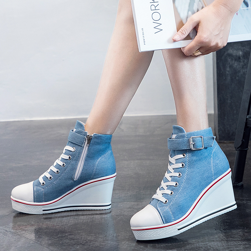 Image 5 - 2018 New Fashion Women High Top Canvas Sneakers Wedges Shoes Womens Denim Ankle Lace Up Ladies Ankle Canvas Shoes WomanWomens Vulcanize Shoes   -